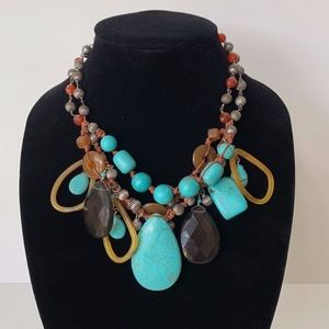 Chico's Turquoise and Faux Smokey Quartz Necklace